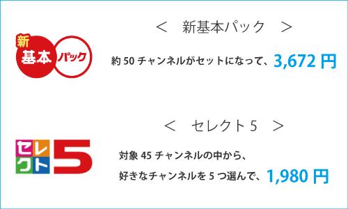 新基本パックは約50チャンネルがパックになってるもので、月々3,672円です。  セレクト5は、対象の45チャンネルの中から好きな5つを選択して観ることができるパックで1,980円です。