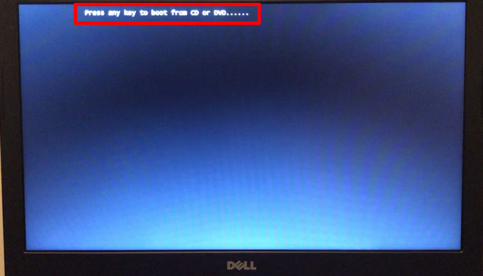 「Press any key to boot from CD or DVD」と出たら何でもいいのでキーを押す