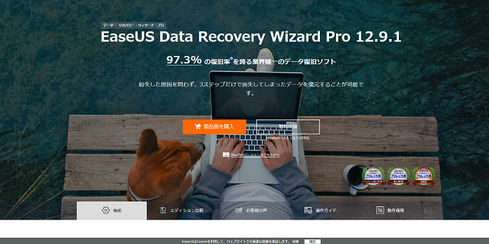 「EaseUS Data Recovery Wizard」のサイト